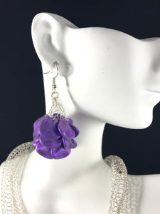 Necklace and earring set with purple glass petals