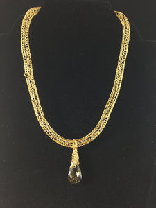 Gold necklace with foil Swarovski crystal