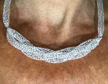 Silver crocheted from wire woven necklace