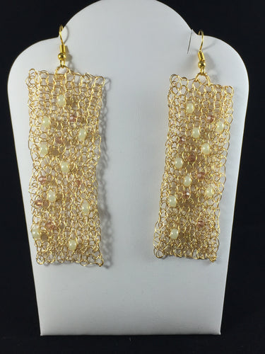 Gold rectangular earrings with seed pearls