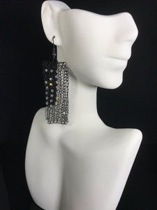 Dangle Earrings with Swarovski crystals crocheted from black wire