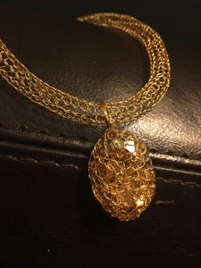 Gold Swarovski hand crocheted wire necklace