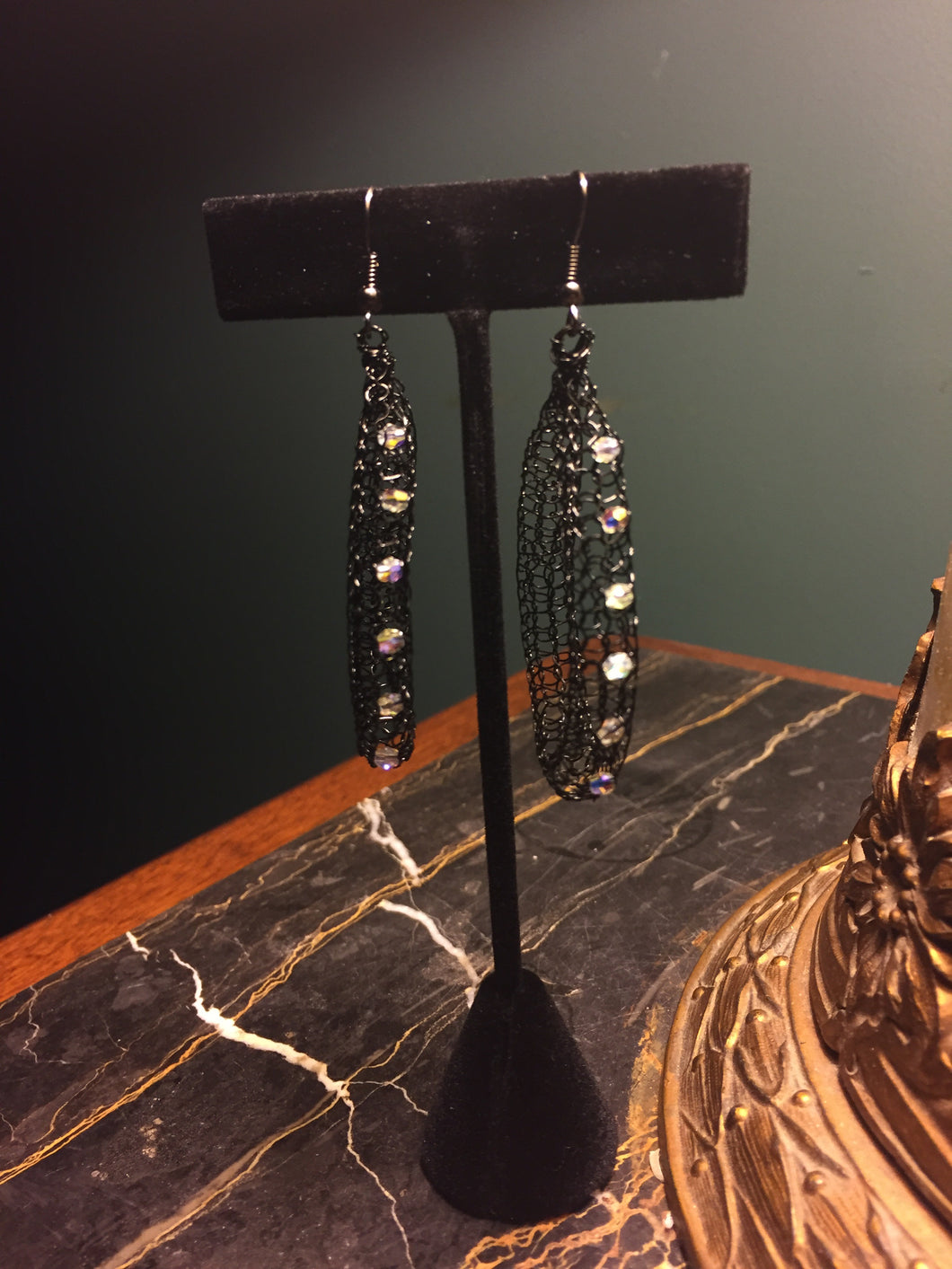 Black hoop Swarovski earrings