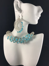 Turquoise pearl necklace and earring set
