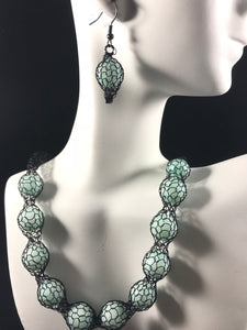 Black crocheted wire with jade like beads necklace and earring set set