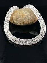 Silver crocheted from wire tubular necklace
