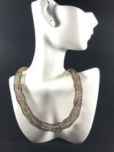 Double layered crocheted from wire black and goldbeaded  necklace