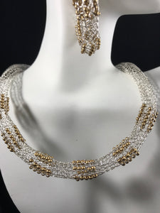 Silver and Gold necklace and Earrings with Gold beads hand crocheted from wire