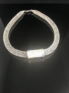 Crocheted from wire crystal pave necklace