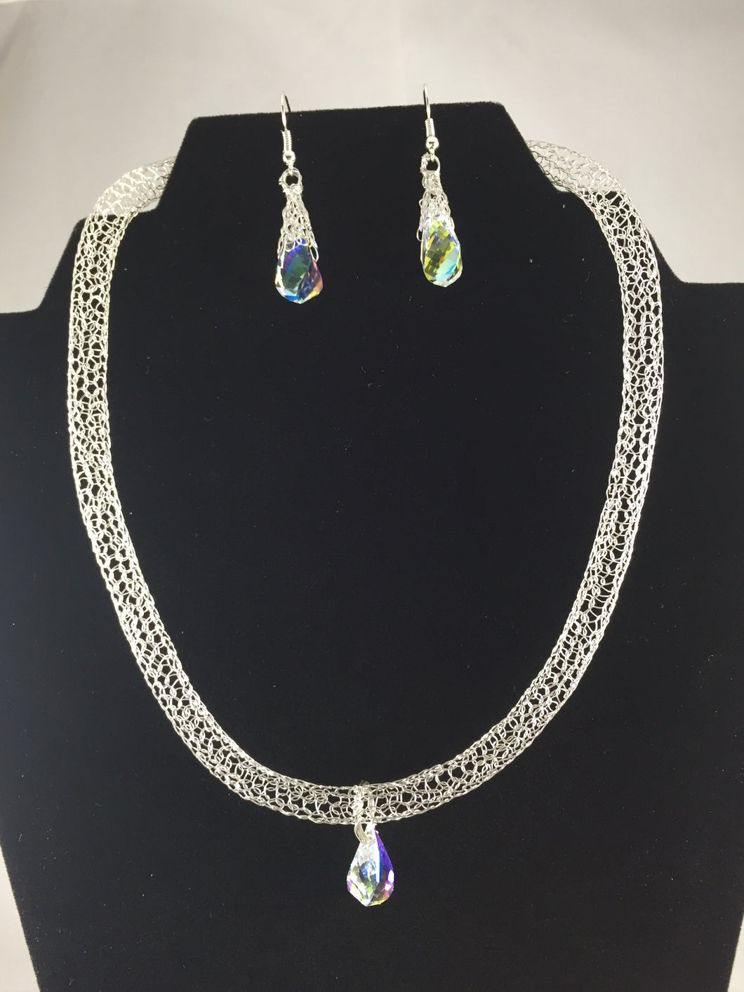 Swarovski silver earring and necklace set