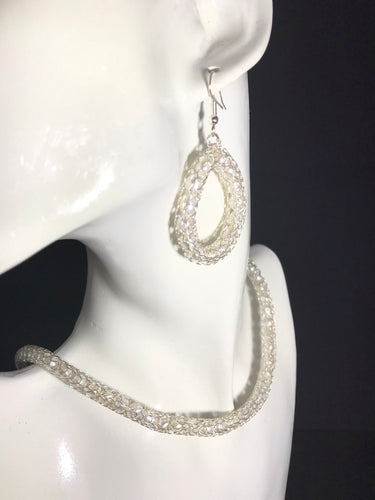 Fine silver pearl earrings and necklace