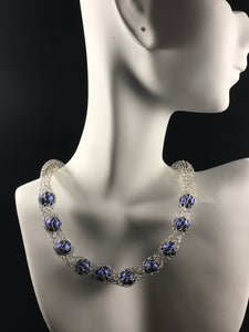 Crocheted silver with blue pearls necklace