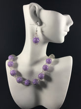 Lavender dolomite wire crocheted necklace and earring set