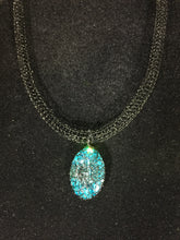 Hand crocheted black wire blue Swarovski crystal necklace