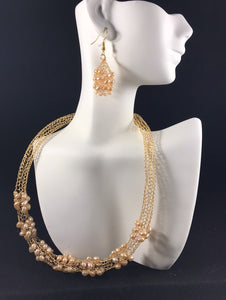 Gold wire  and pearl necklace and earring set