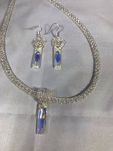 Brilliant Swarovski necklace and earring set crocheted fringe silver