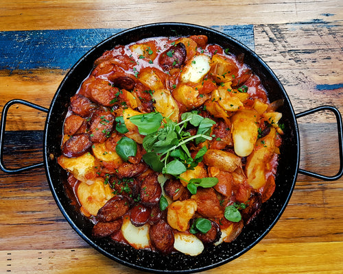 Spanish Chorizo with Kipfler Potato + white wine + parsley (GF)