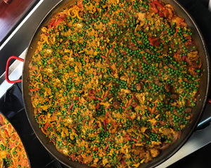 Chicken & Smoked Spanish chorizo + saffron infused stock Paella (GF)