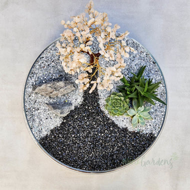 Cherry Blossom Garden Crystal Tree & Succulents (Glass Round Large) Minigardens.ae Free Shipping Dubai United Arab Emirates Accessories All