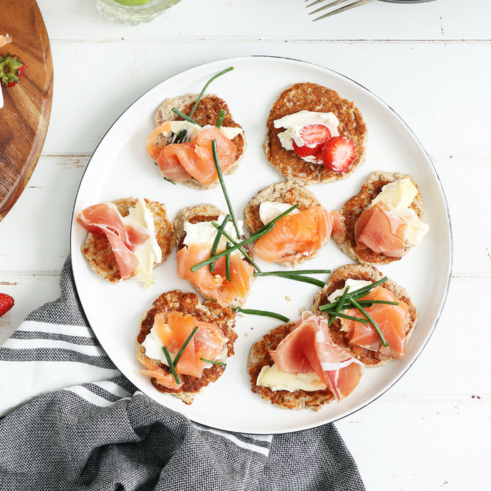 Blinis with D'affinois & Prosciutto