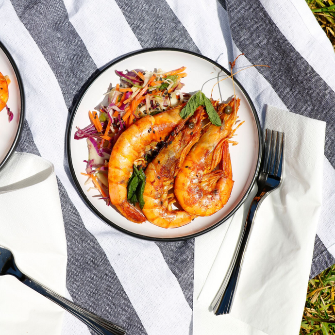 BBQ Prawns with Asian Slaw
