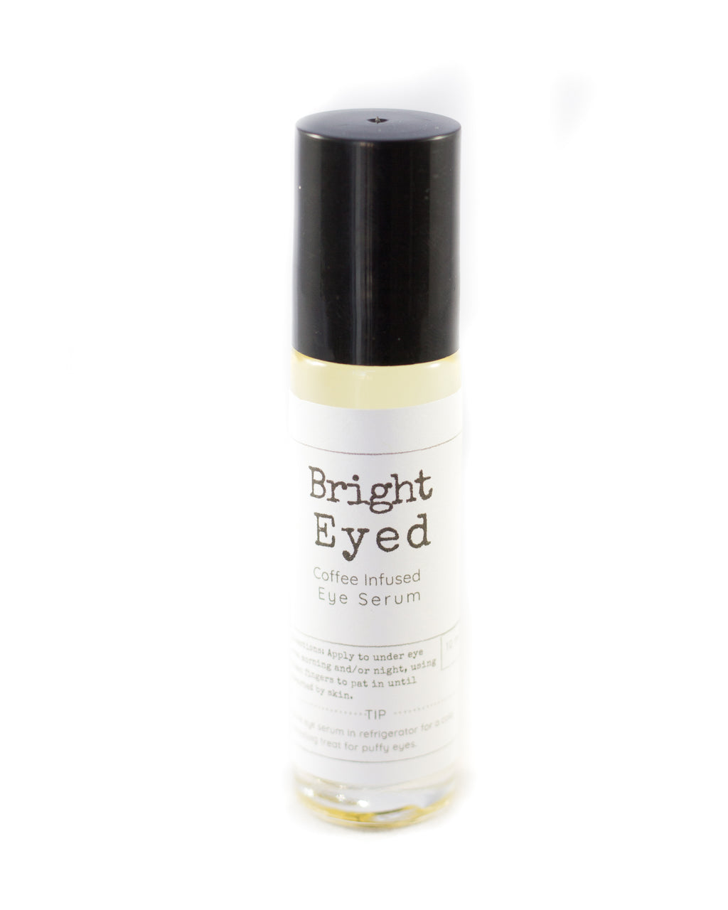 Bright Eyed Caffeine Infused Under Eye Serum Coffee Under Eye Depuffer for Puffy Eyes Fine Lines Lavender Lemon Eye Treatment Roll On Bottle