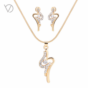 Gold and Rhinestone Curve Jewelry Sets