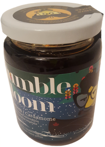 Jar of bumble bloom Cardamom-flavoured plant-based honey alternative