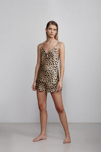 V neck silk camisole top, leopard print, front view