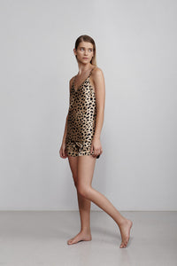 V neck silk camisole top, leopard print, side view