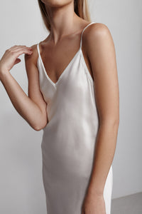 Long V neck silk slip dress, ivory white, detail view