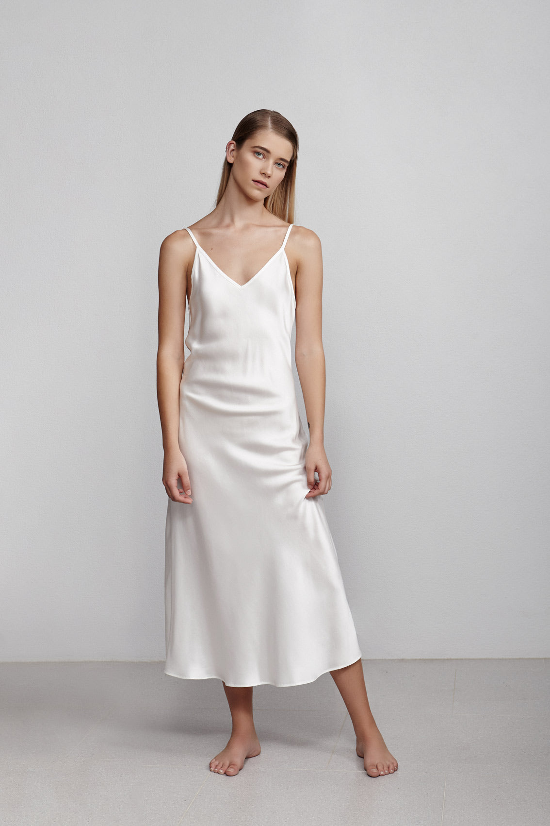 Long V neck silk slip dress, ivory white, front view