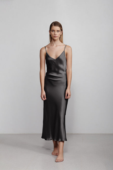 Long V neck silk slip dress, black, front view