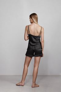 V neck silk camisole top, black, back view