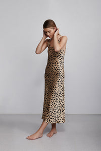 Long V neck silk slip dress, leopard print, side view