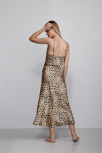 Long V neck silk slip dress, leopard print, back view