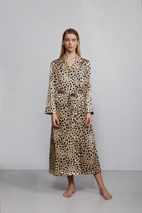 Double breasted silk robe dressing gown, leopard print, front view