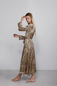 Double breasted silk robe dressing gown, leopard print, side view