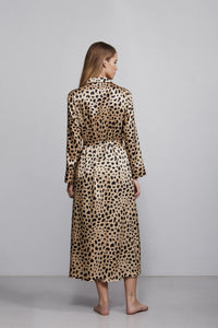 Double breasted silk robe dressing gown, leopard print, back view
