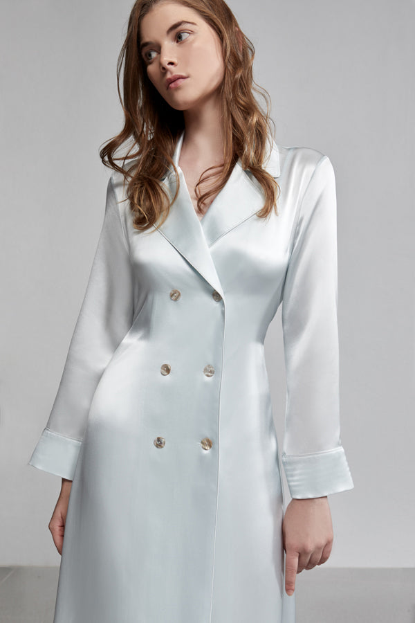 Silk Pyjama Double Breasted Long Sleeve Robe With Waist Tie, Iceberg blue, Detail
