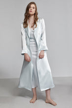 Silk Pyjama Double Breasted Long Sleeve Robe With Waist Tie, Iceberg blue, Front