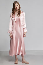 Silk Pyjama Double Breasted Long Sleeve Robe With Waist Tie, Rose pink, Front