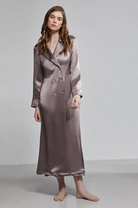 Silk Pyjama Double Breasted Long Sleeve Robe With Waist Tie, Smoke Grey, Front