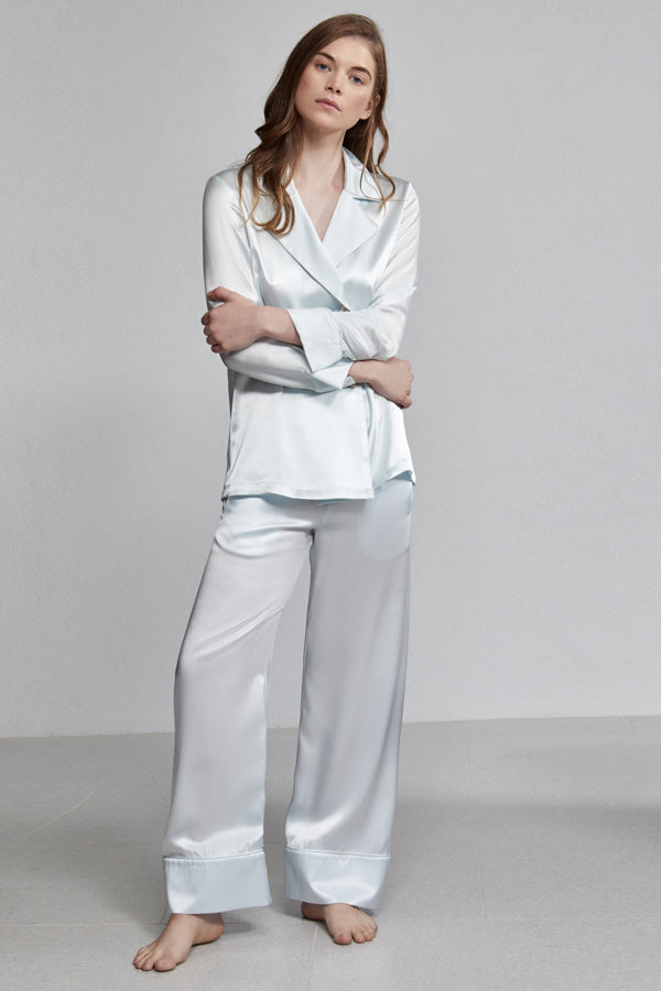 Silk Pyjama Pull On Elastic Waist Relaxed Long Pant, Iceberg blue, Side