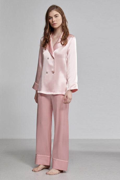 Silk Pyjama Pull On Elastic Waist Relaxed Long Pant, Rose pink, Front