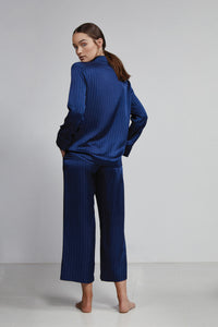 Cropped Pull On Pant, Navy Pinstripe, Back