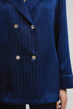 Double Breasted Long Sleeve Top, Navy Pinstripe, Close Up