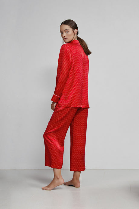 Pull On Cropped Pant, Red and Pink Polkadot, Back