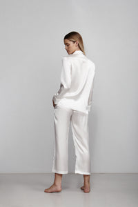 Elastic waist cropped pull on pant, ivory, back view