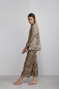 Elastic waist cropped pull on pant, Leopard print, side view